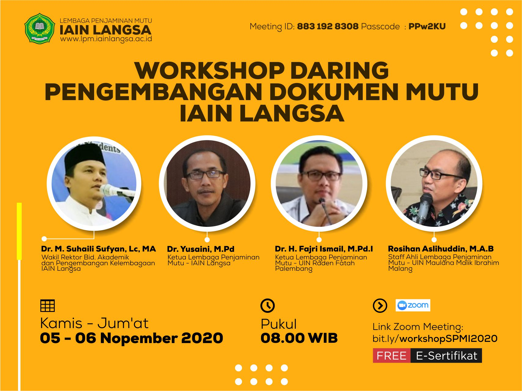 Workshop Daring Pengembangan Dokumen SPMI